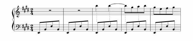 partitura com distribuição de tempo