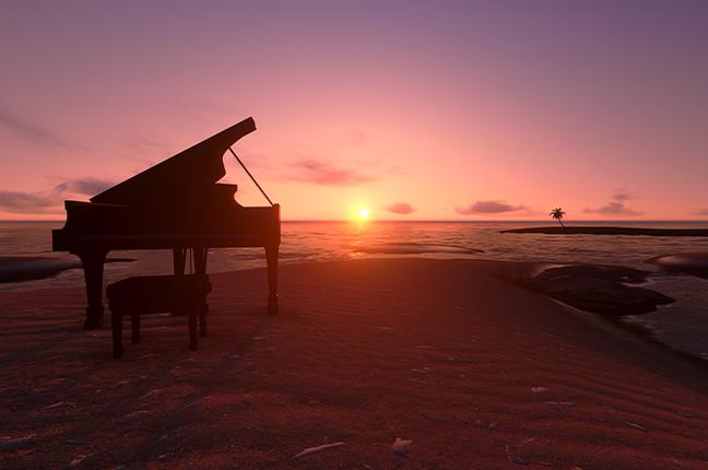 piano na praia ao pôr do sol