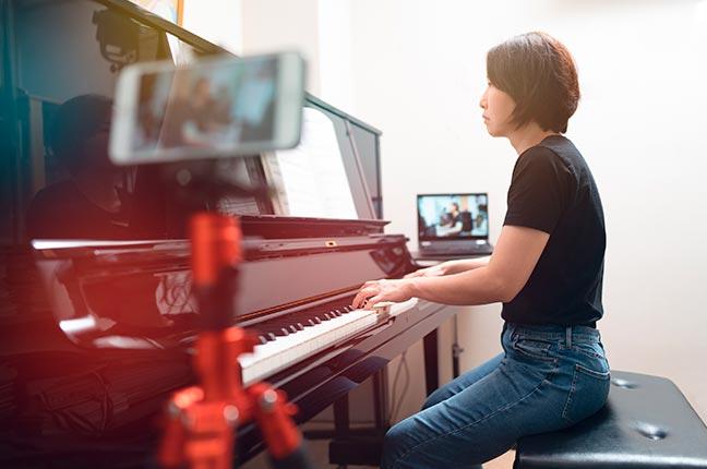 gravar aula online de piano